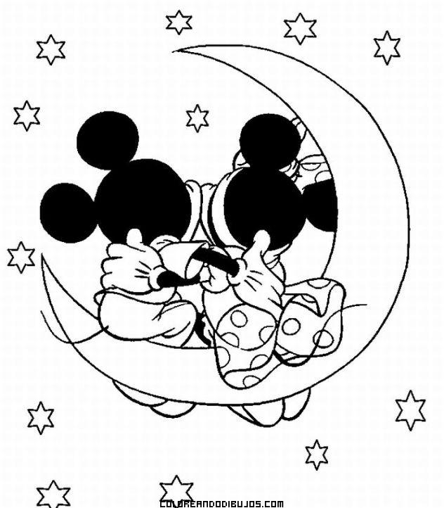 Imagenes de Mickey y Minnie bebés para colorear - Imagui