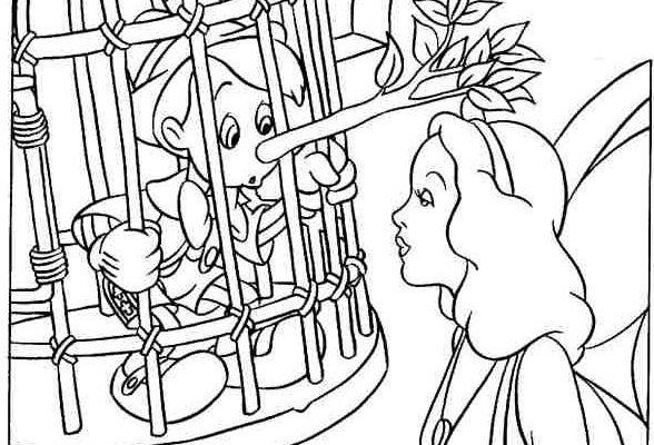Pinocho Encerrado En Una Jaula Dibujos Para Colorear