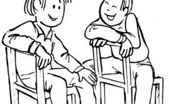 Dibujo Dos amigos charlando muy animadamente