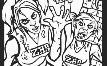 Dibujo Animadoras zombies para colorear