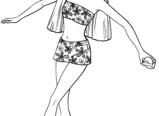 Dibujo Barbie en bikini para colorear