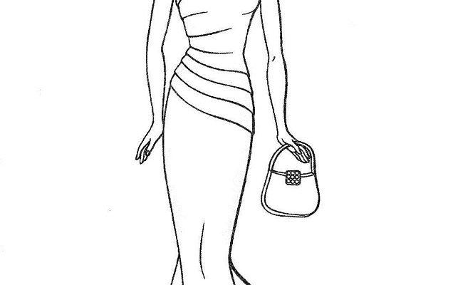 Dibujo Barbie lista para una noche de gala