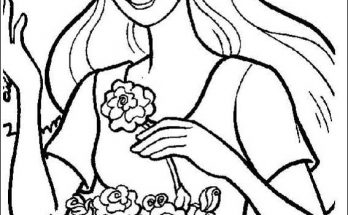 Dibujo Cesto de flores de Barbie