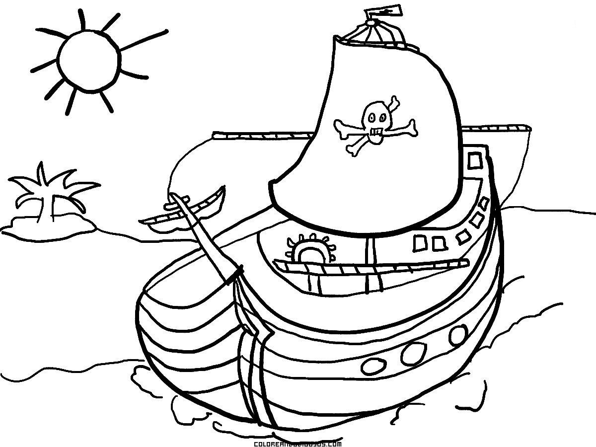 Barco Pirata Para Colorear Dibujos Para Colorear