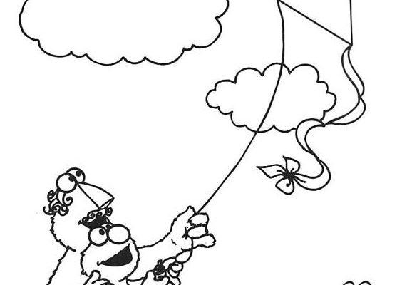 Dibujo Volando una cometa