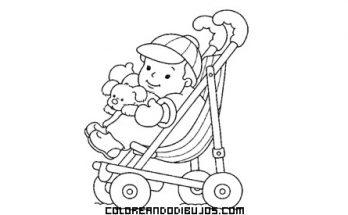 Dibujo Bebé en su silla de paseo