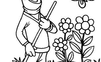 Dibujo Blas arreglando el jardín