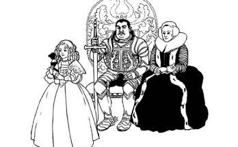 Dibujo Caballero y familia medieval
