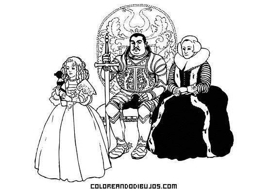 Caballero Y Familia Medieval Dibujos Para Colorear