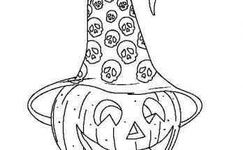 Dibujo Calabaza con gorro de bruja