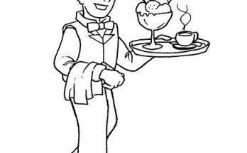 Dibujo Camarero muy contento sirviendo un helado