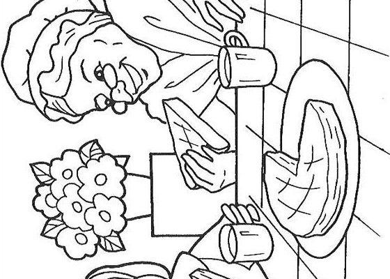 Dibujo Caperucita merendando con la abuelita