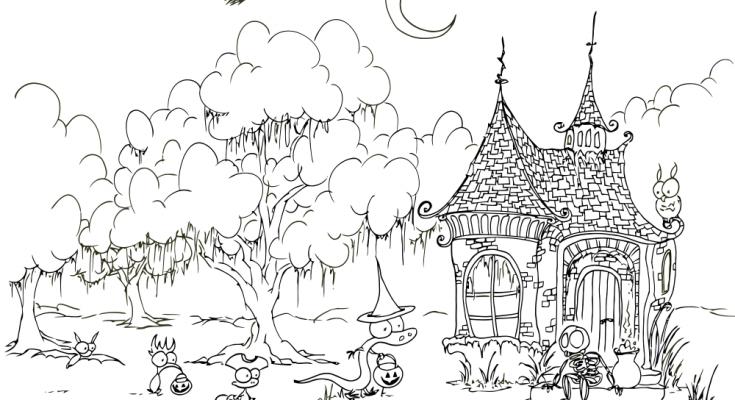 Dibujo Casa extraña