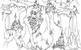 Dibujo Casitas de duendes en las colinas