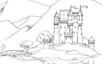 Dibujo Castillo reflejándose en un lago