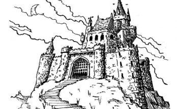 Dibujo Majestuoso castillo medieval
