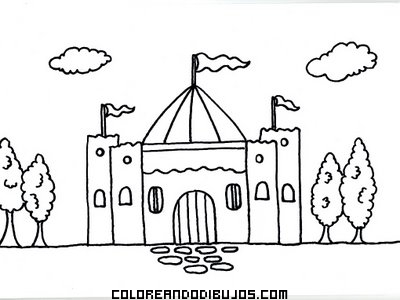 Dibujo Castillo fácil de Halloween