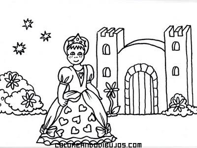 Castillo Y Princesa Para Colorear Dibujos Para Colorear