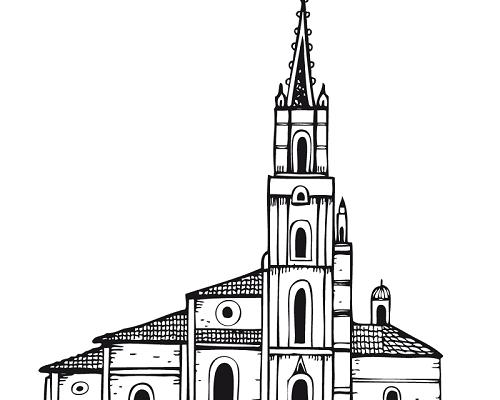 Dibujo Bonita catedral para colorear