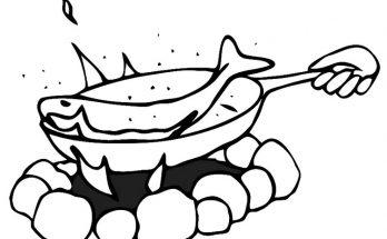 Dibujo Cocinando pescado en una fogata