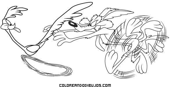 Dibujo Persecución del Coyote al Correcaminos