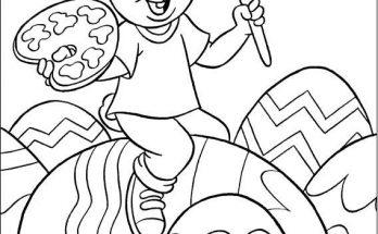 Dibujo Conejito decorando huevos de pascua