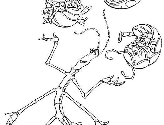 Dibujo Insecto palo y tres escarabajos de Disney