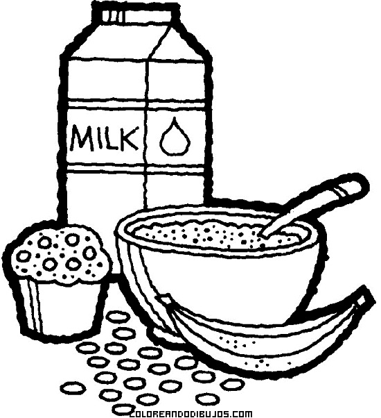 Desayuno Nutritivo Y Equilibrado Dibujos Para Colorear