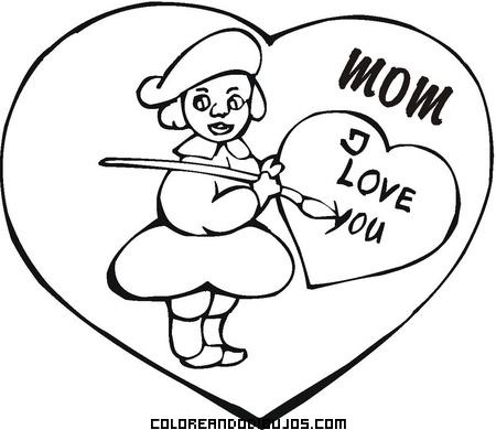 Dibujo Con Te Quiero Mamá En Inglés Dibujos Para Colorear