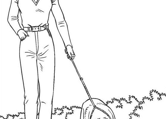 Dibujo Barbie paseando a su Golden Retriver