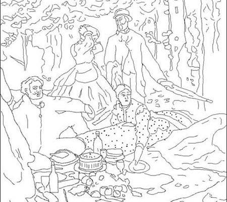 Dibujo Desayuno sobre la hierba de Monet
