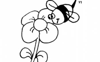 Dibujo Abeja y flor para colorear