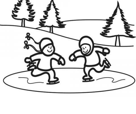 Dibujo Amigos patinando sobre hielo