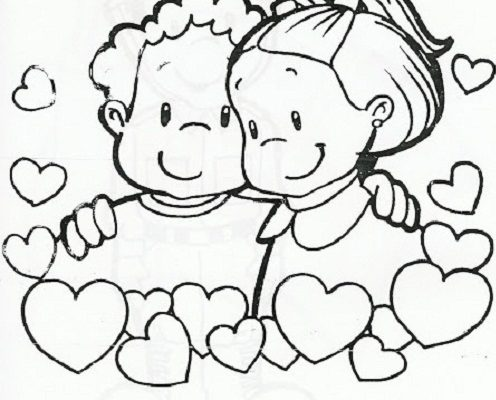 Amistad Entre Bebés Rodeados De Corazones Dibujos Para Colorear