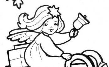 Dibujo Dibujo de angel niña en trineo para colorear