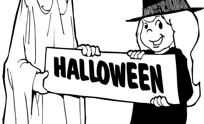 Bruja Y Fantasma En Halloween Dibujos Para Colorear