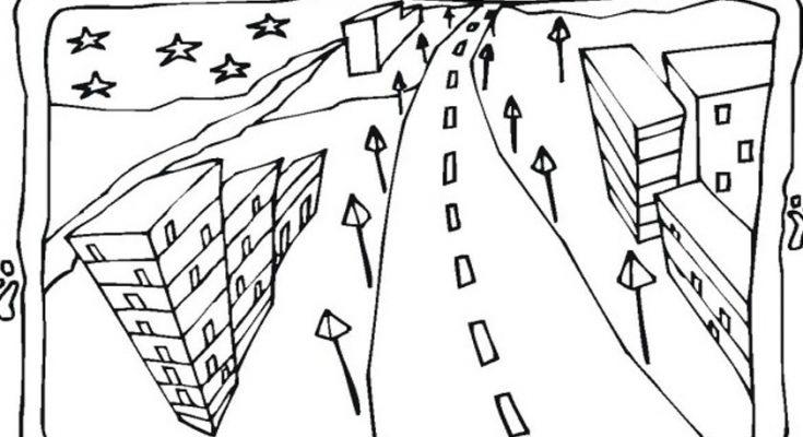 Dibujo Paisaje de ciudad para colorear