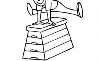 Dibujo Niña en clase de gimnasia saltando el potro