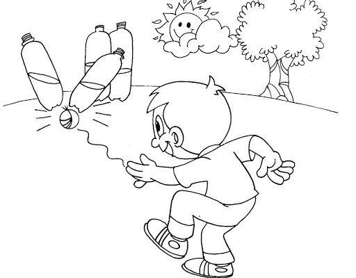 Niño Jugando A Los Bolos Con Botellas De Plástico Dibujos Para