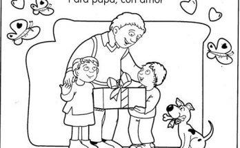 Dibujo Regalo familiar para papá en el día del padre
