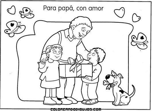 Regalo Familiar Para Papá En El Día Del Padre Dibujos Para Colorear