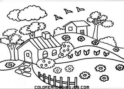 Dibujo Pueblecito en medio del campo