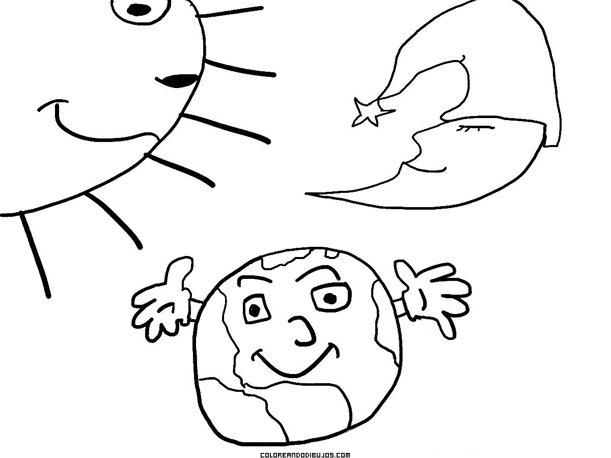 El Sol La Tierra Y La Luna Dibujos Para Colorear