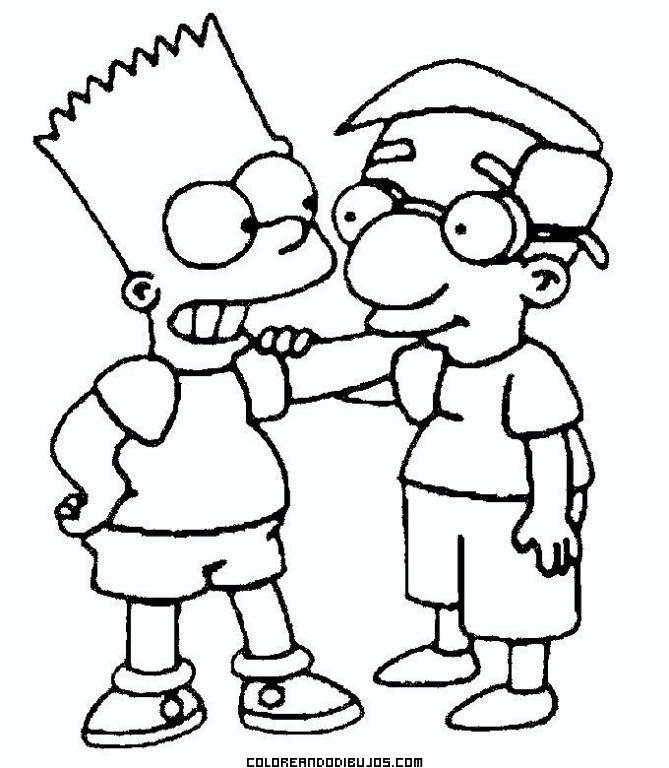 Bart Simpson Y Milhouse Para Colorear Dibujos Para Colorear