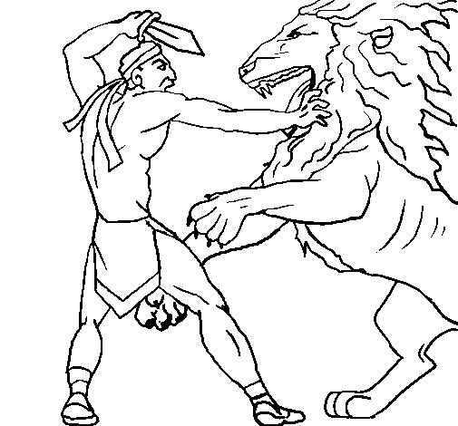 Gladiador Contra León En La Arena Dibujos Para Colorear