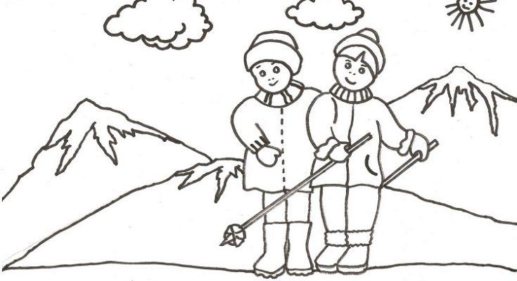 Dibujo Disfrutando de los deportes invernales