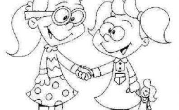 Dibujo Dos niñas dándose la mano y jugando juntas