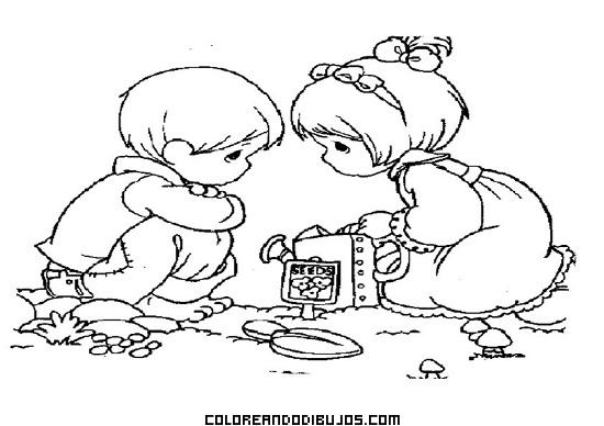 Dos Amigos En El Jardín Dibujos Para Colorear