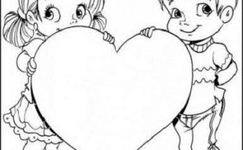 Dibujo Dos hermanos con un corazón para papá