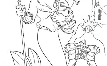 Dibujo El rey Tritón con su hija la sirenita
